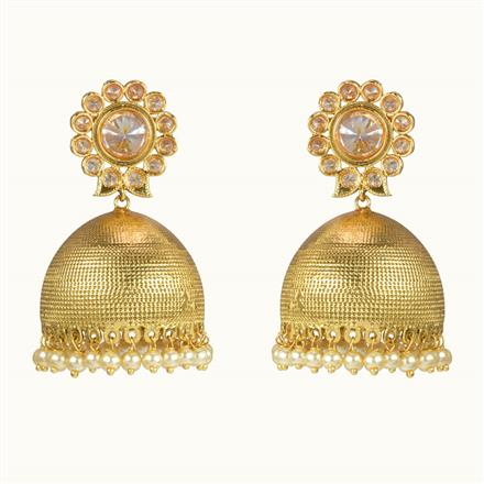 10669 Antique Jhumki with gold plating