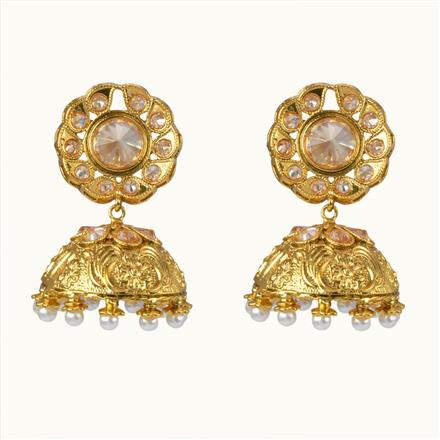 10671 Antique Jhumki with gold plating