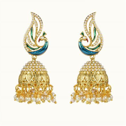 10672 Antique Peacock Earring with gold plating