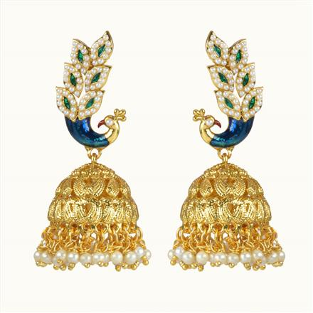 10673 Antique Peacock Earring with gold plating