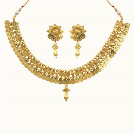 10693 Antique Temple Necklace with gold plating
