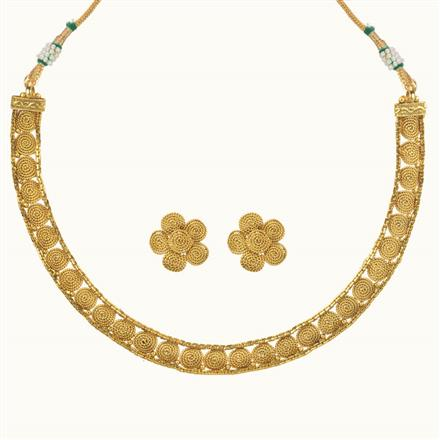 10696 Antique Delicate Necklace with gold plating