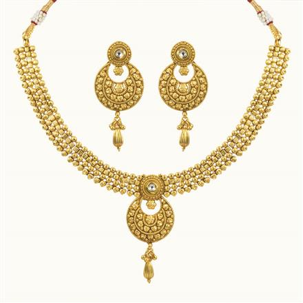 10708 Antique Plain Gold Necklace