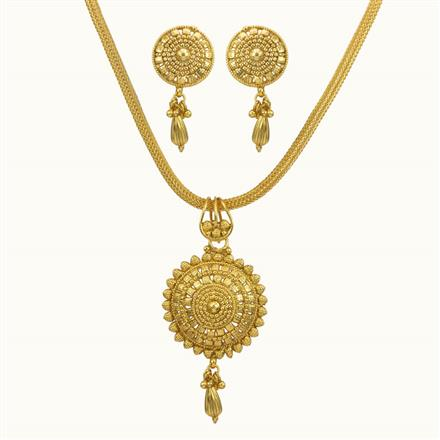 10709 Antique Plain Gold Pendant Set