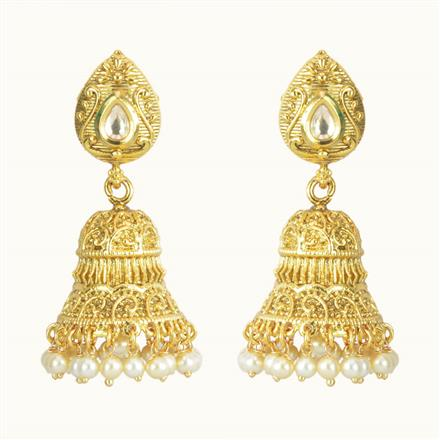 10713 Antique Jhumki with gold plating