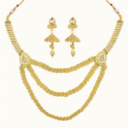 10727 Antique Plain Gold Necklace