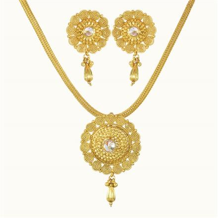 10733 Antique Plain Gold Pendant Set
