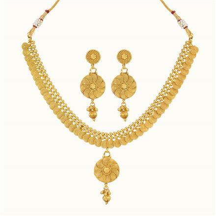 10737 Antique Delicate Necklace with gold plating