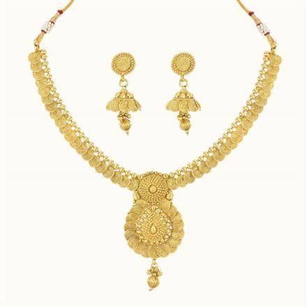 10742 Antique Plain Gold Necklace