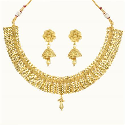 10743 Antique Plain Gold Necklace