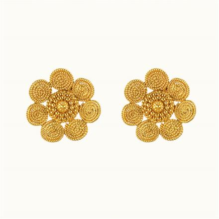 10783 Antique Plain Gold Earring