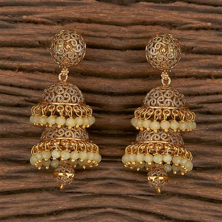 10810 Antique Jhumkis With Gold Plating
