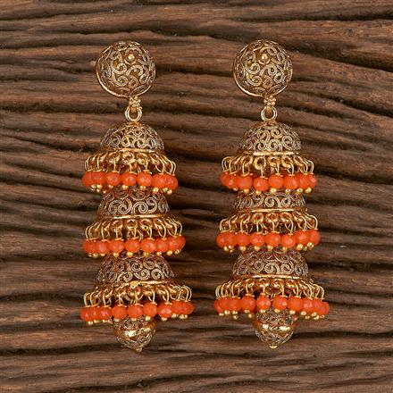 10811 Antique Jhumkis With Gold Plating
