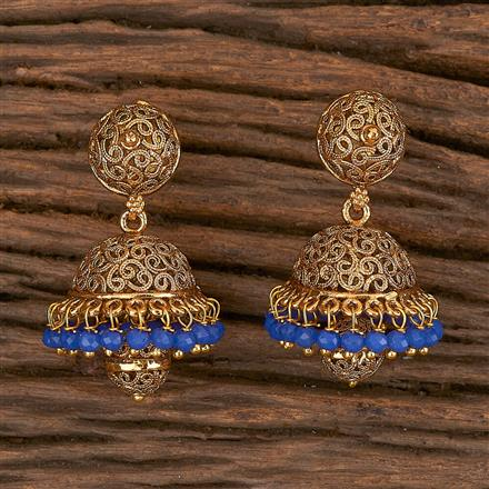 10812 Antique Jhumkis With Gold Plating