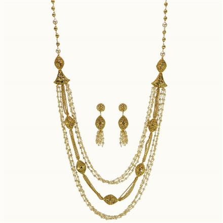 10840 Antique Long Necklace with gold plating