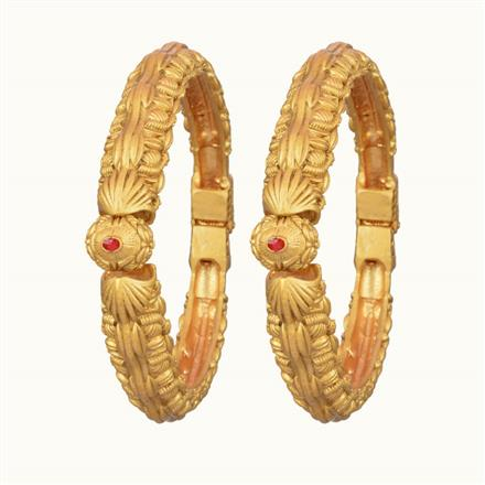 10860 Antique Plain Gold Bangles