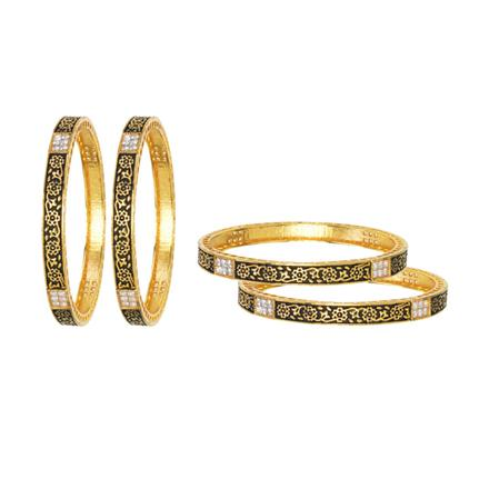 10878 Antique Classic Bangles with gold plating