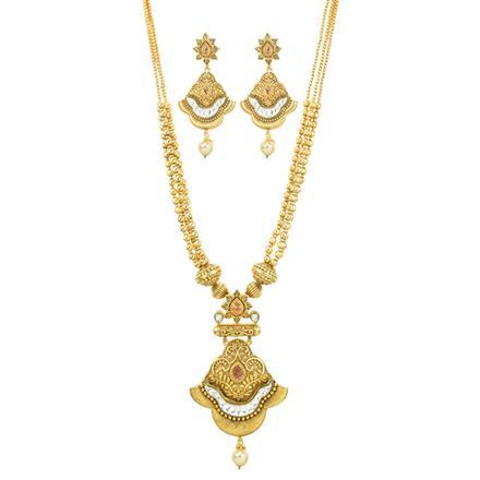 10885 Antique Mala Pendant Set with matte gold plating