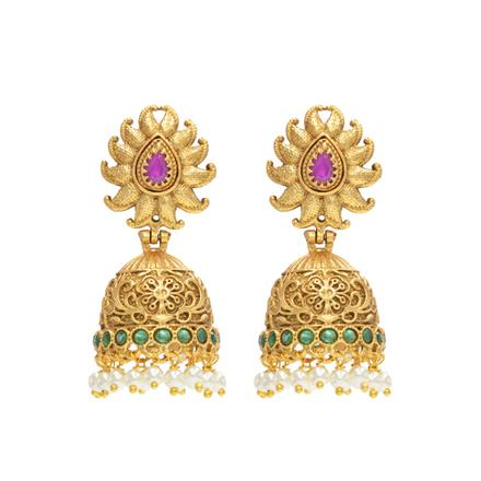 10891 Antique Jhumki with gold plating