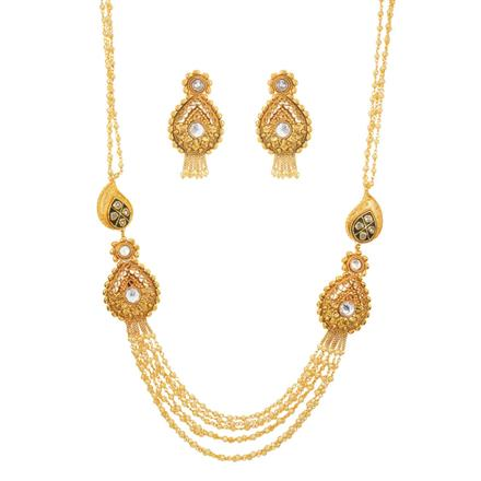 10895 Antique Side Pendant Necklace with gold plating