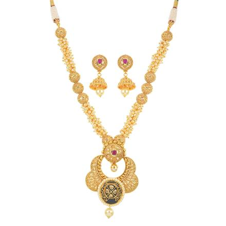 10896 Antique Mala Pendant Set with gold plating