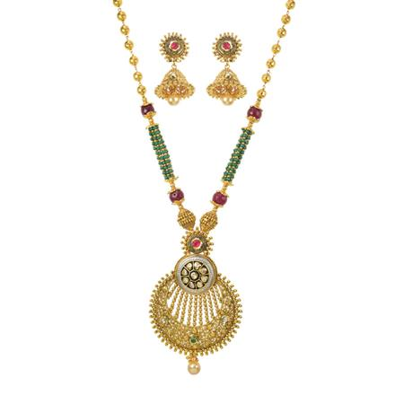 10945 Antique Mala Pendant Set with gold plating