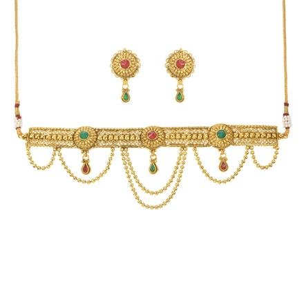 10951 Antique Choker Necklace with gold plating