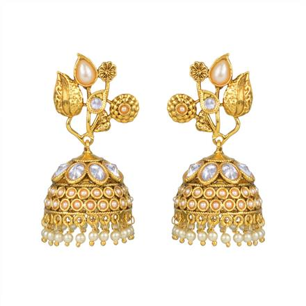 10976 Antique Jhumki with gold plating
