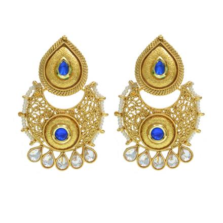 10985 Antique Chand Earring with gold plating