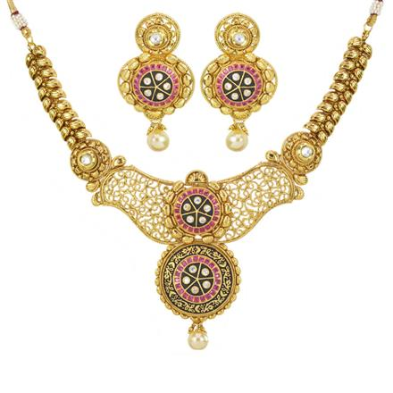 10990 Antique Classic Necklace with gold plating