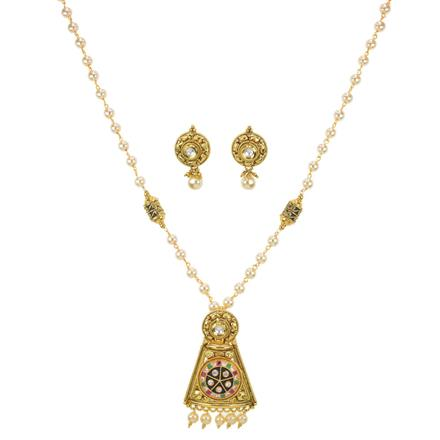 10993 Antique Mala Pendant Set with gold plating