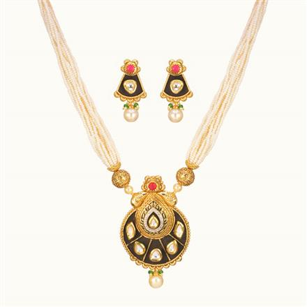 11008 Antique Mala Pendant Set with gold plating