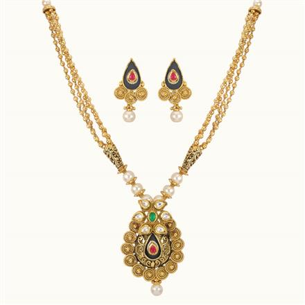 11010 Antique Mala Pendant Set with gold plating