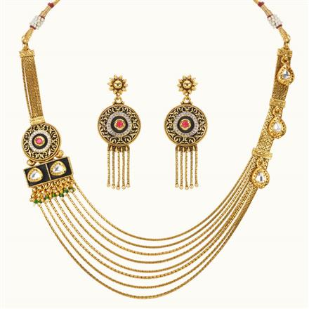 11017 Antique Side Pendant Necklace with gold plating