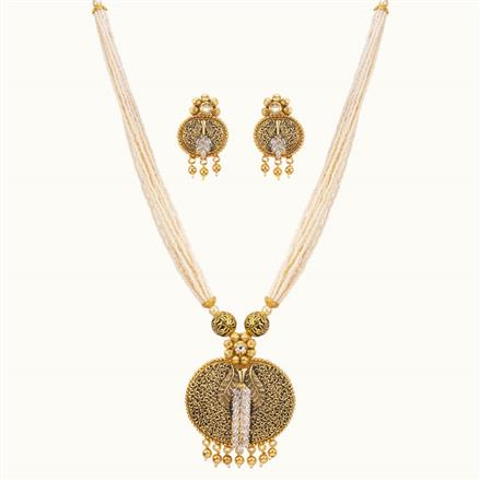 11026 Antique Mala Pendant Set with gold plating
