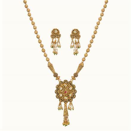 11027 Antique Mala Pendant Set with gold plating