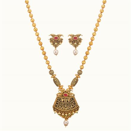 11028 Antique Mala Pendant Set with gold plating