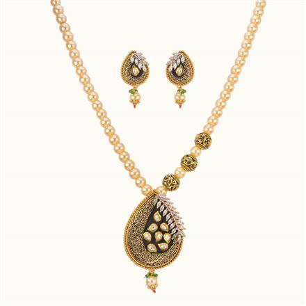 11029 Antique Mala Pendant Set with gold plating