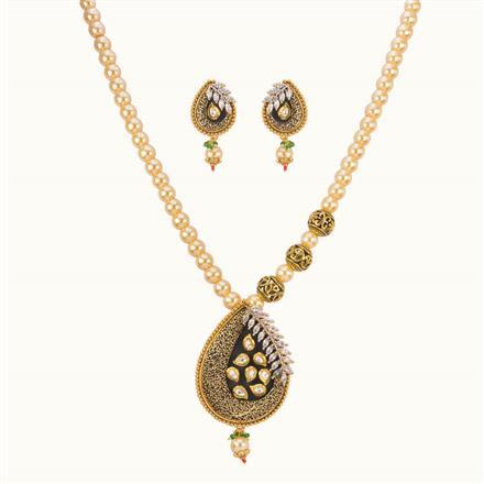 11029 Antique Mala Pendant Set with gold plating