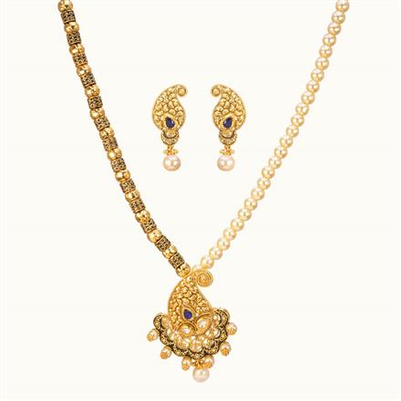 11030 Antique Mala Pendant Set with gold plating