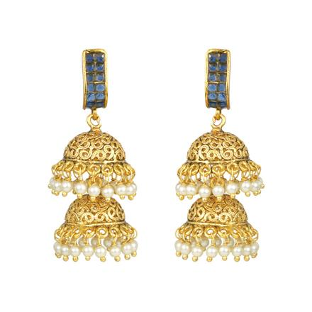 11075 Antique Jhumki with gold plating