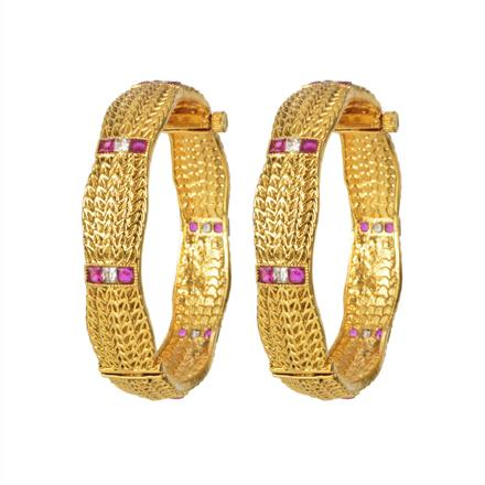 11085 Antique Openable Bangles with gold plating