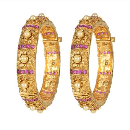 11086 Antique Openable Bangles with gold plating