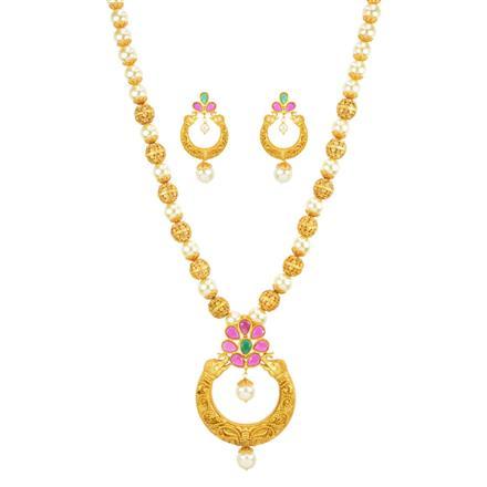 11087 Antique Mala Pendant Set with gold plating