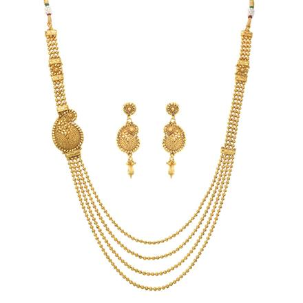 11103 Antique Side Pendant Necklace with gold plating