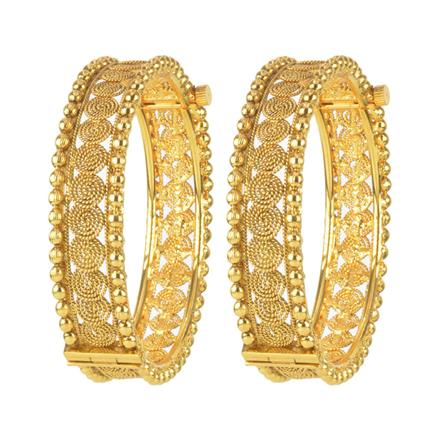 11125 Antique Plain Gold Bangles