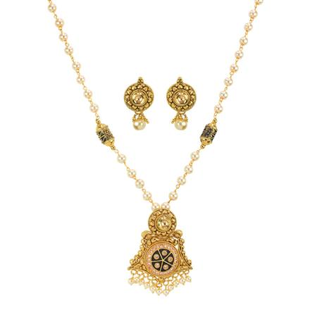 11141 Antique Mala Pendant Set with gold plating