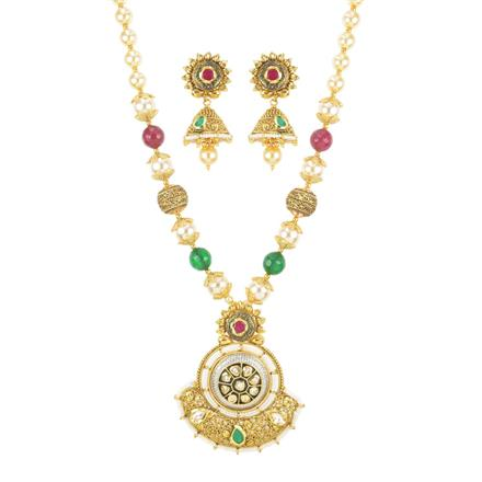 11142 Antique Mala Pendant Set with gold plating