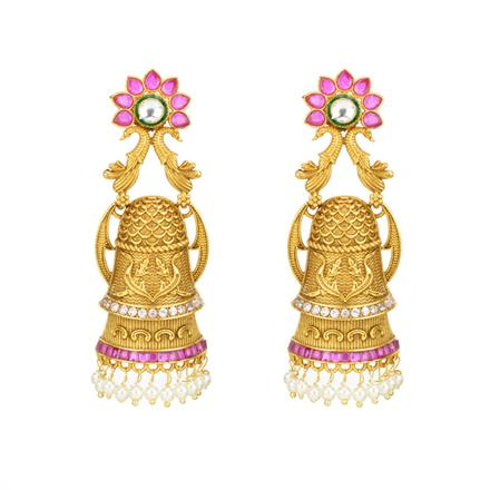 11173 Antique Peacock Earring with gold plating