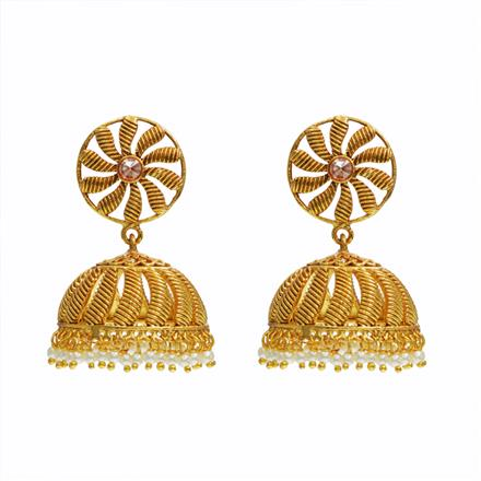 11187 Antique Jhumki with gold plating